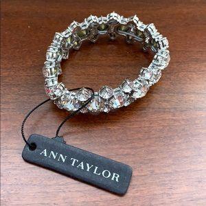Ann Taylor rhinestone stretch bracelet silver